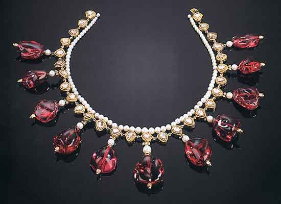 Spinel Bead, Pearl, and Diamond Necklace photo image