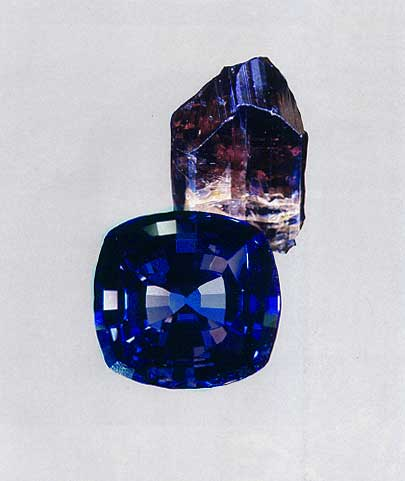 Tanzanite Rough and Cut photo image