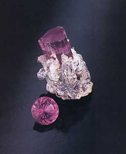 Pink Tourmaline Crystal and Faceted photo image