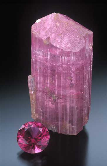 Tourmaline Rough and Cut photo image