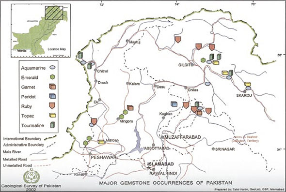 Major Gemstone Occurrences of Pakistan map image