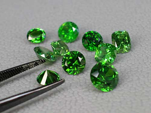 faceted demantoid garnets