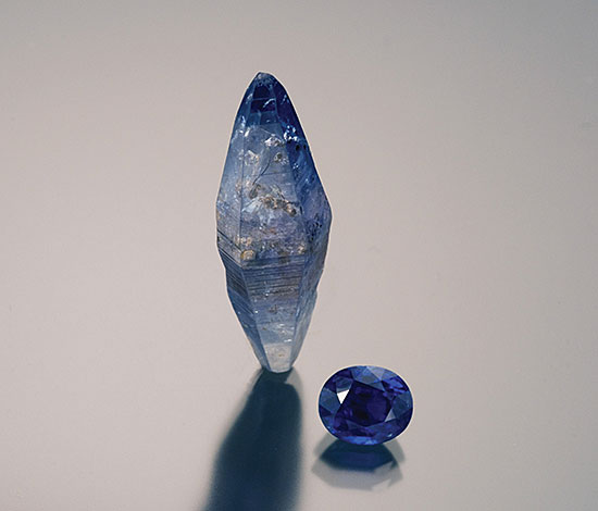 Rough and Cut Sapphire photo image