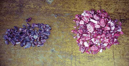 Mong Hsu Ruby Before and After Heat Treatment photo image