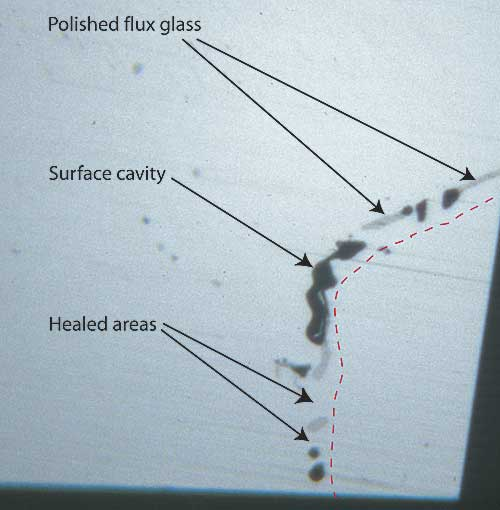 Surface of Flux-Healed Fracture photo image with callouts