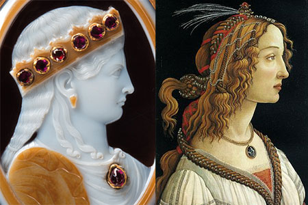 Sardonyx Bust and Boticelli Portrait photo image