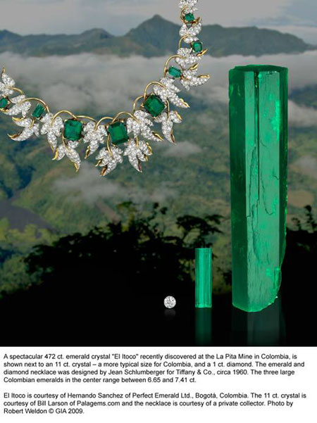 Emerald Crystals, Diamond, and Necklace image