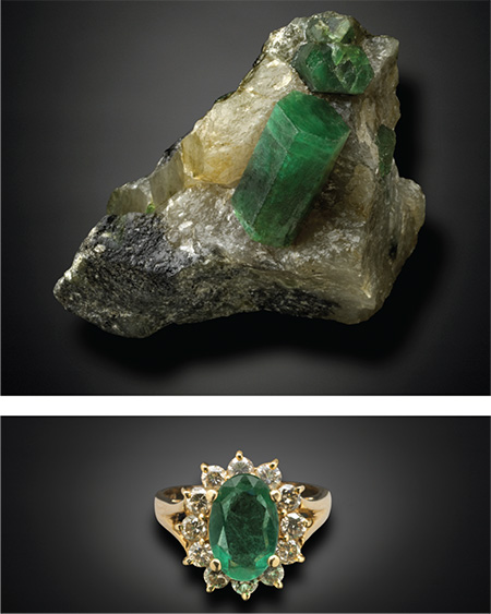 Emerald Rough and Cut photo images