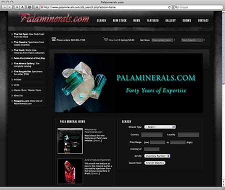 Palaminerals.com screenshot image