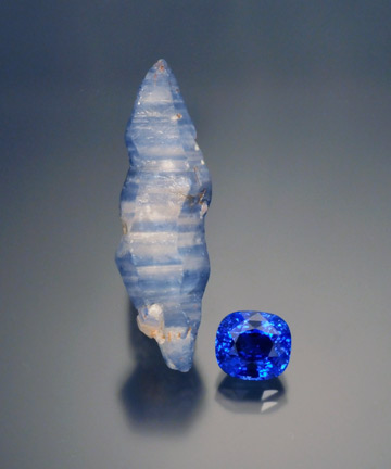 Sapphire Rough and Cut photo image