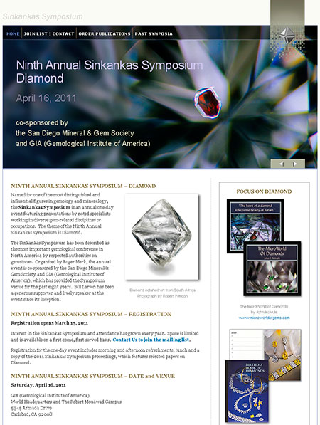 Sinkankas Symposium Website screenshot image