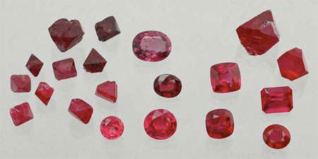 Rough and Cut Natural and Synthetic Spinel photo image