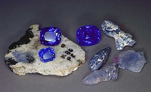 Kashmir Sapphires Rough and Cut photo image