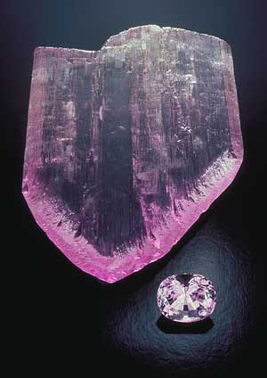 rough and cut kunzite, gem collecting, rubellite, G.F. Kunz, Pala International, demantoid garnet, gems