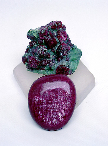 Fine Longido (Tanzania) Ruby Cabochon and Ruby Crystals photo image